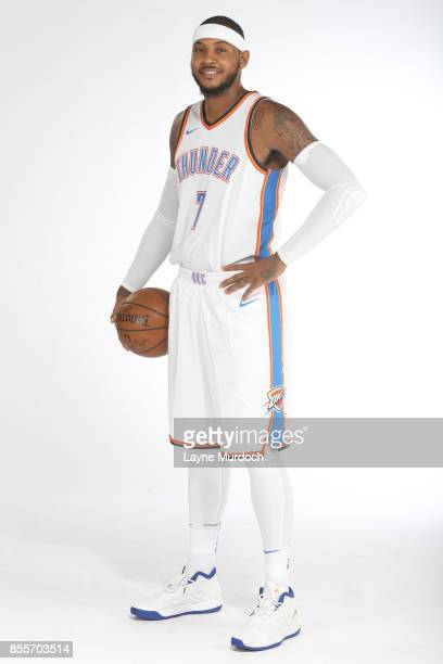 Carmelo Anthony of the Oklahoma City Thunder poses for a portrait during the 2017 NBA Media Day on September 25 2017 at the Chesapeake Energy Arena...