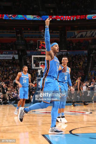 Carmelo Anthony of the Oklahoma City Thunder reacts to a play against the Cleveland Cavaliers on February 13 2018 at Chesapeake Energy Arena in...
