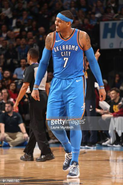 Carmelo Anthony of the Oklahoma City Thunder reacts to a play during the game against the Cleveland Cavaliers on February 13 2018 at Chesapeake...