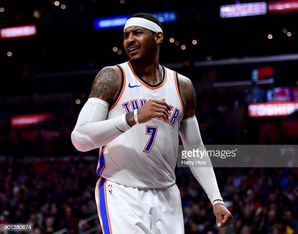Carmelo Anthony of the Oklahoma City Thunder reacts to his foul during a 127117 Thunder win over the LA Clippers at Staples Center on January 4 2018...