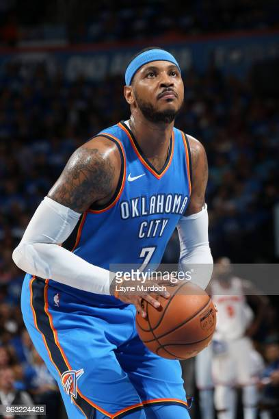 Carmelo Anthony of the Oklahoma City Thunder shoots a free throw against the New York Knicks on October 19 2017 at Chesapeake Energy Arena in...