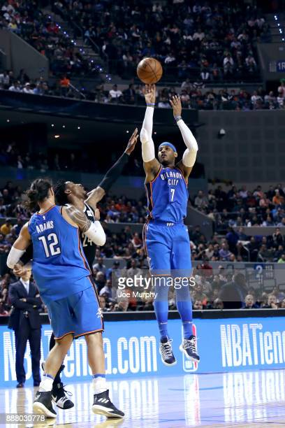 Carmelo Anthony of the Oklahoma City Thunder shoots the ball against the Brooklyn Nets as part of the NBA Mexico Games 2017 on December 7 2017 at the...