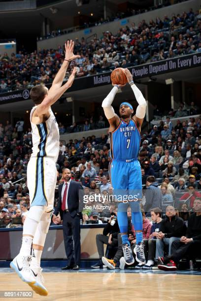 Carmelo Anthony of the Oklahoma City Thunder shoots the ball against the Memphis Grizzlies on December 9 2017 at FedExForum in Memphis Tennessee NOTE...