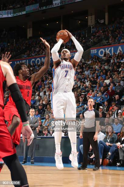 Carmelo Anthony of the Oklahoma City Thunder shoots the ball against the Portland Trail Blazers on January 9 2018 at Chesapeake Energy Arena in...