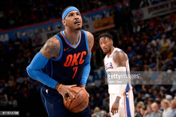 Carmelo Anthony of the Oklahoma City Thunder shoots the ball against the Philadelphia 76ers on January 28 2018 at Chesapeake Energy Arena in Oklahoma...