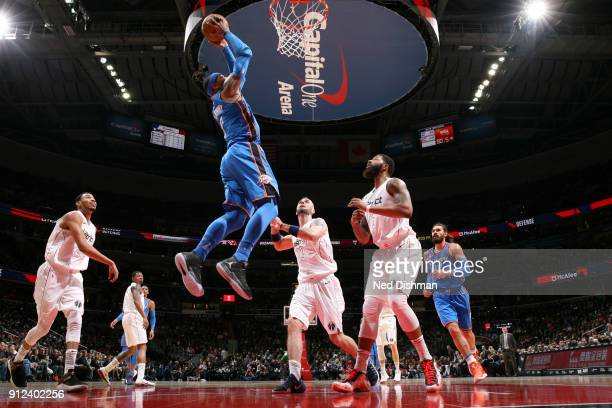 Carmelo Anthony of the Oklahoma City Thunder shoots the ball against the Washington Wizards on January 30 2018 at Capital One Arena in Washington DC...