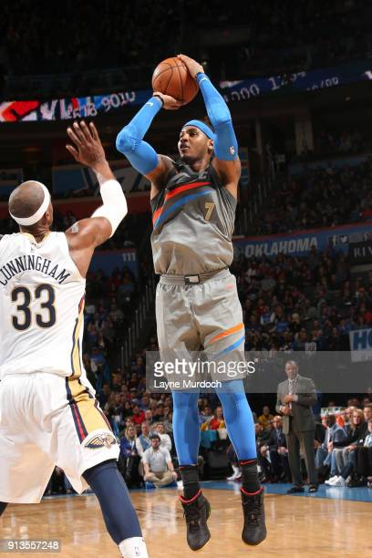 Carmelo Anthony of the Oklahoma City Thunder shoots the ball against the New Orleans Pelicans on February 2 2018 at Chesapeake Energy Arena in...