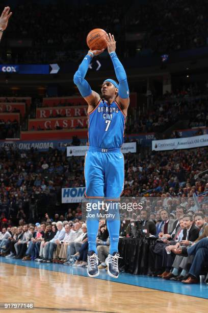 Carmelo Anthony of the Oklahoma City Thunder shoots the ball against the Cleveland Cavaliers on February 13 2018 at Chesapeake Energy Arena in...