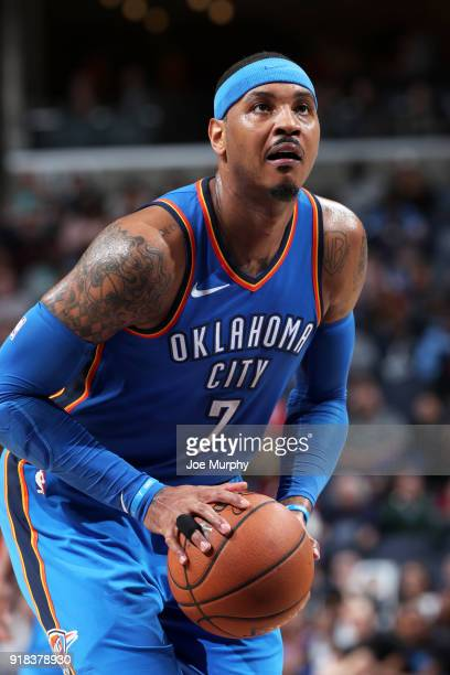 Carmelo Anthony of the Oklahoma City Thunder shoots the ball against the Memphis Grizzlies on February 14 2018 at FedExForum in Memphis Tennessee...