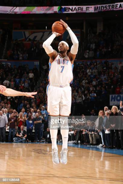 Carmelo Anthony of the Oklahoma City Thunder shoots the ball against the Sacramento Kings on March 12 2018 at Chesapeake Energy Arena in Oklahoma...