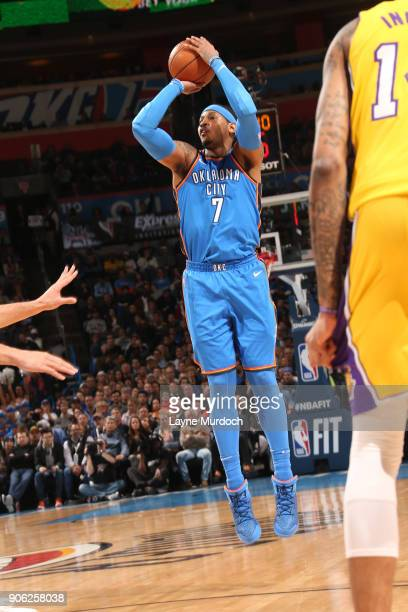 Carmelo Anthony of the Oklahoma City Thunder shoots the ball during the game against the Los Angeles Lakers on January 17 2018 at Chesapeake Energy...