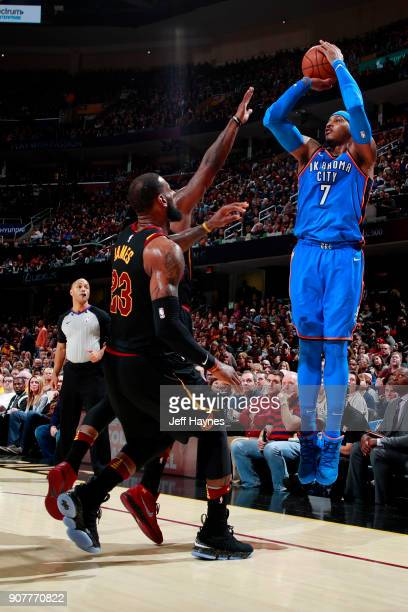 Carmelo Anthony of the Oklahoma City Thunder shoots the ball during the game against the Cleveland Cavaliers on January 20 2018 at Quicken Loans...