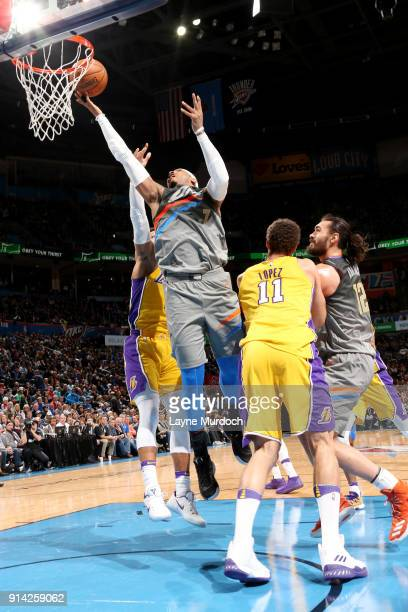 Carmelo Anthony of the Oklahoma City Thunder shoots the ball during the game against the Los Angeles Lakers on February 4 2018 at Chesapeake Energy...