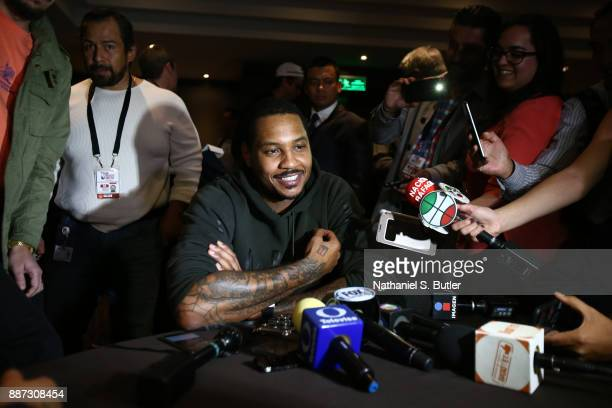 Carmelo Anthony of the Oklahoma City Thunder speaks to the media as part of the NBA Mexico Games 2017 on December 6 2017 at the Intercontinental...
