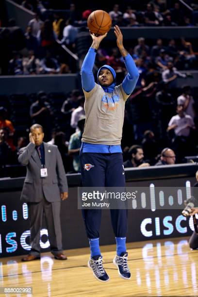 Carmelo Anthony of the Oklahoma City Thunder warms up before the game against the Brooklyn Nets as part of the NBA Mexico Games 2017 on December 7...