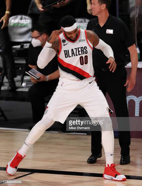 Carmelo Anthony of the Portland Trail Blazers reacts after a made three point basket during the second half against the Memphis Grizzlies at The...