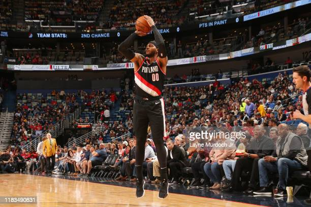 Carmelo Anthony of the Portland Trail Blazers shoots a three-pointer against the New Orleans Pelicans on November 19, 2019 at Smoothie King Center in...