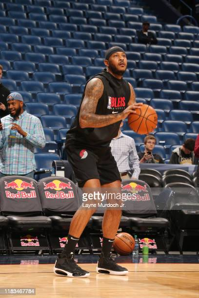Carmelo Anthony of the Portland Trail Blazers warms up prior to a game against the New Orleans Pelicans on November 19, 2019 at Smoothie King Center...