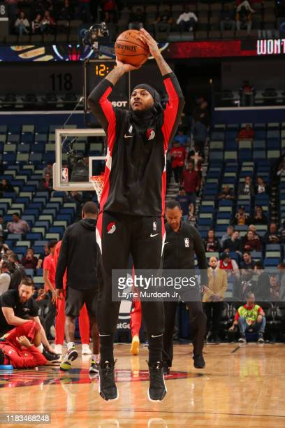Carmelo Anthony of the Portland Trail Blazers warms up prior to a game against the New Orleans Pelicans on November 19 2019 at Smoothie King Center...