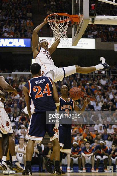 Carmelo Anthony of the Syracuse Orangemen dunks against the Auburn Tigers during the East Regionals of the NCAA Championship on March 28 2003 at the...