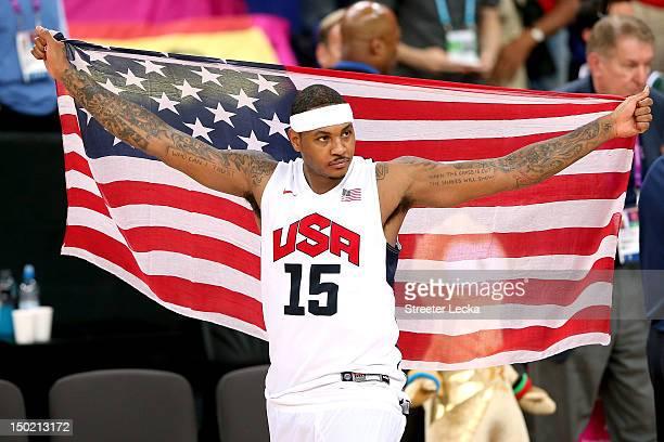 Carmelo Anthony of the United States celebrates winning the Men's Basketball gold medal game between the United States and Spain on Day 16 of the...