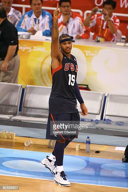 Carmelo Anthony of the US Men's Senior National Team celebrates winning the men's goldmedal basketball game at the 2008 Beijing Olympic Games at the...