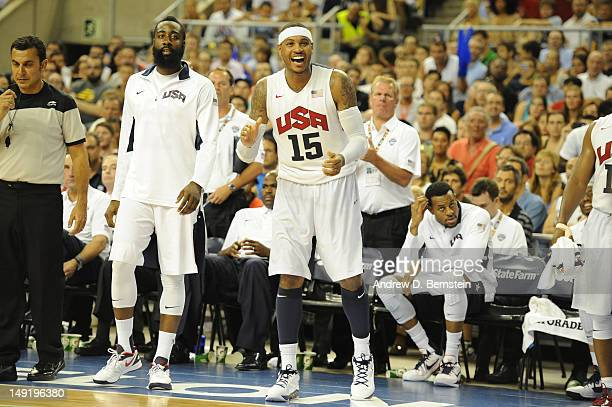 Carmelo Anthony of the US Men's Senior National Team reacts during a game against the Spanish Men's Senior National Team at Palau Sant Jordi on July...