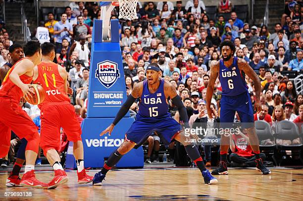 Carmelo Anthony of the USA Basketball Men's National Team plays defense against China on July 24 2016 at STAPLES Center in Los Angeles California...