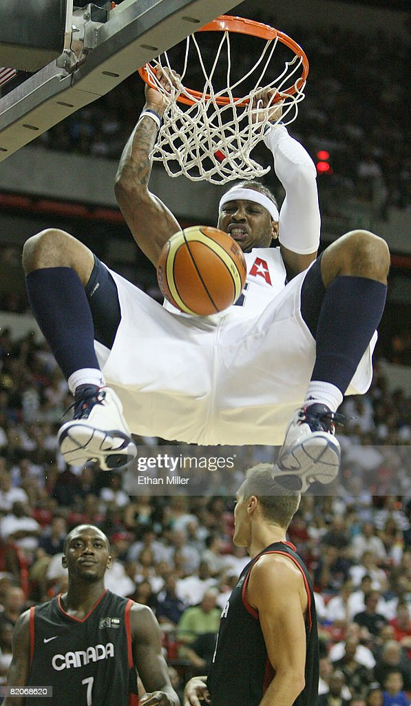 Carmelo Anthony #15 of the USA Basketball Men's Senior National Team dunks during the 2008 State Farm Basketball Challenge exhibition game against the Canadian Senior Men's National Team at the Thomas & Mack Center July 25, 2008 in Las Vegas, Nevada.