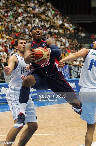 Carmelo Anthony of the USA Basketball Men's Senior National Team goes to the basket against Greece during the FIBA World Basketball Championship on...