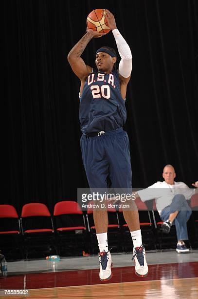 b28a627e799a Carmelo Anthony of the USA Men s Senior National Basketball Team puts up a  shot during minicamp