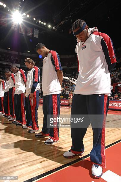 Carmelo Anthony of the USA Men's Senior National Team stands during the national anthem against Argentina during the gold medal game of the 2007 FIBA...