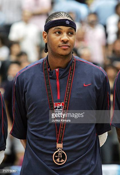 Carmelo Anthony of the USA poses during the 2006 FIBA World Championship Classification Round on September 2, 2006 at the Saitama Super Arena in...