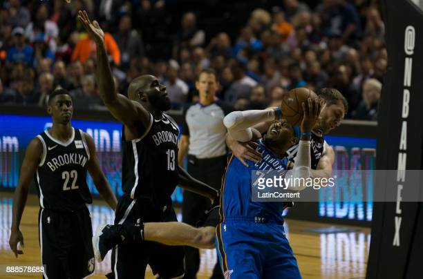 Carmelo Anthony of Thunder shoots during the NBA match between Brooklyn Nets and Oklahoma City Thunder at Arena Ciudad de Mexico on December 07 2017...