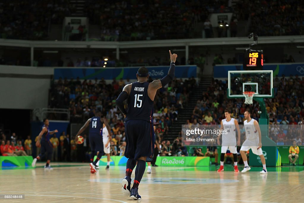 Carmelo Anthony #15 of United States reacts near the end of the game against Serbia during the Men's Gold medal game on Day 16 of the Rio 2016 Olympic Games at Carioca Arena 1 on August 21, 2016 in Rio de Janeiro, Brazil.
