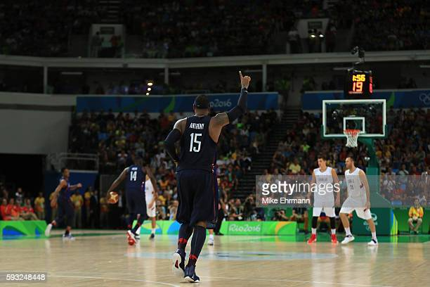 Carmelo Anthony of United States reacts near the end of the game against Serbia during the Men's Gold medal game on Day 16 of the Rio 2016 Olympic...