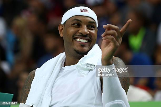 Carmelo Anthony of United States reacts on the bench during the game agaisnt Venezuela in the men's preliminary round group A game 19 on Day 3 of the...