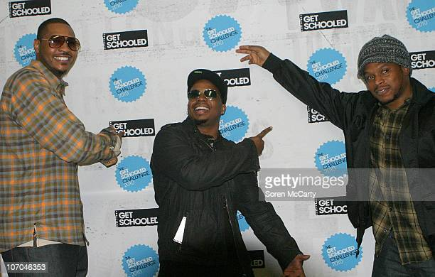 Carmelo Anthony Sway and guest attend the Get Schooled National Challenge and Tour on November 19 2010 in Denver Colorado