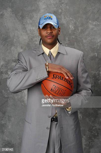 Carmelo Anthony who was selected by the Denver Nuggets poses for a portrait during the 2003 NBA Draft at the Paramount Theatre at Madison Square...