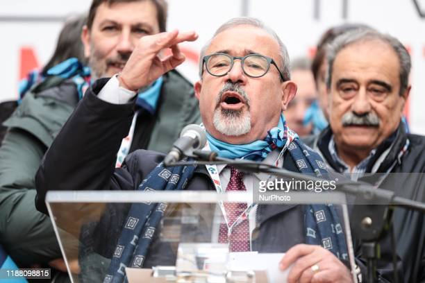 Carmelo Barbagallo General Secretary of the Uil take part in a demonstration in Piazza Santi Apostoli in Rome on December 12 2019 at the center of...
