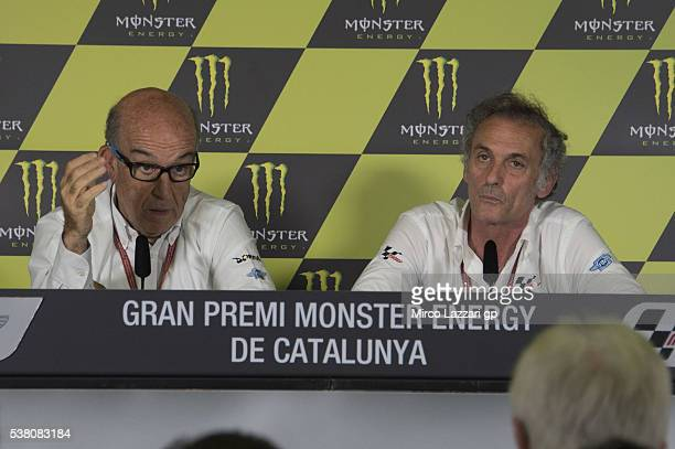 Carmelo Ezpeleta of Spain and Dorna CEO speaks and Franco Uncini of Italy and Dorna FIM Security Commission looks on during the press conference...
