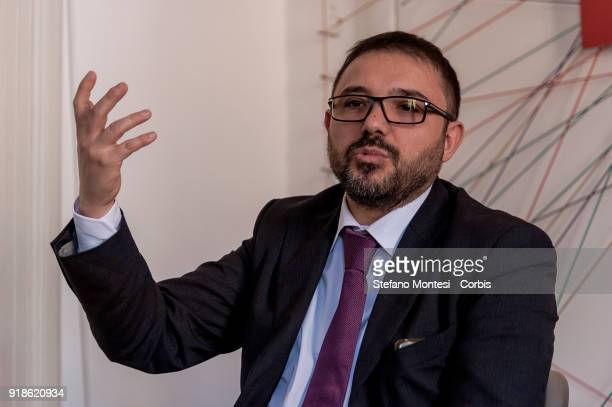 Carmelo Parello of 'Liberi e Uguali' leftwing political party takes part at the presentation the economic programme of the 'Liberi e Uguali' party...