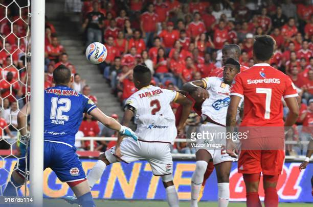 Carmelo Valencia of America de Cali scores a goal during a match between America de Cali and Deportes Tolima as part of Liga Aguila I 2018 at Pascual...