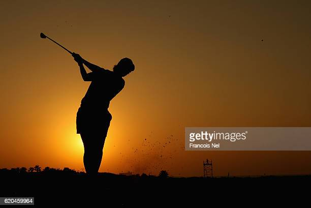 Carmen Alanso of Spain tees of on the 17th hole during the first round of the Fatima Bint Mubarak Ladies Open at Saadiyat Beach Golf Club on November...