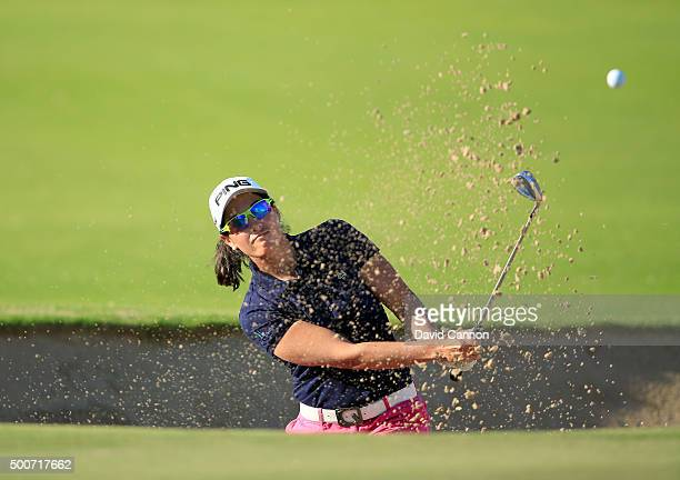 Carmen Alonso of Spain plays her fourth shot on the par 4, first hole during the second round of the 2015 Omega Dubai Ladies Masters on the Majlis...