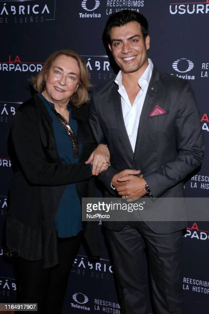 Carmen Armendariz and Andres Palacios poses for photos during a red carpet of premiere 'La Usurpadora' Tv Screening soap opera at Club de Banqueros...