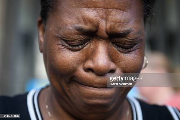 Carmen Ashley the great aunt of Antwon Rose II cries during a protest calling for justice for the 17yearold on June 26 2018 in downtown Pittsburgh...