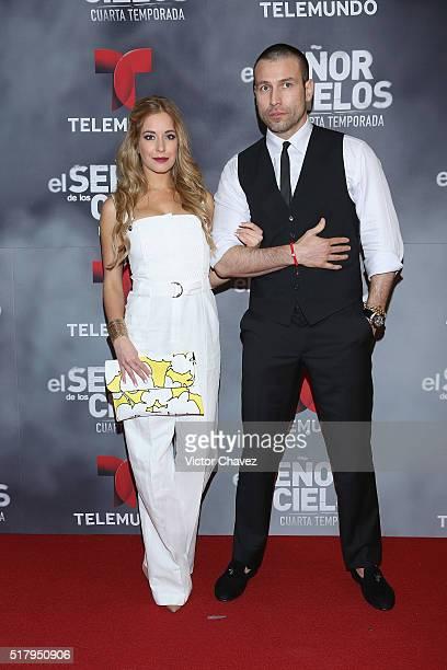 Carmen Aub and Rafael Amaya attend 'El Senor De Los Cielos' season 4 premiere red carpet at Cinepolis Plaza Carso on March 28 2016 in Mexico City...