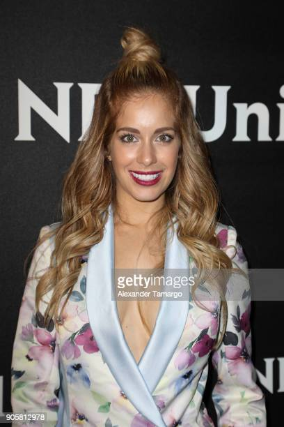 Carmen Aub arrives at the Telemundo and NBC Universal Latin America NATPE Red Carpet Event at LIV at the Fontainebleau on January 16 2018 in Miami...