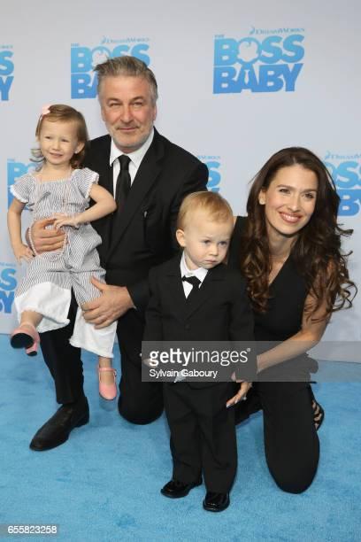 Carmen Baldwin Alec BaldwinRafael Baldwin and Hilaria Baldwin attend 'The Boss Baby' New York Premiere on March 20 2017 in New York City